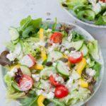 Salad with yogurt dressing pinnable image.