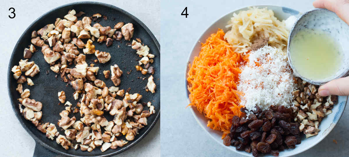 walnuts are being toasted, lemon juice is being added to the carrot apple salad