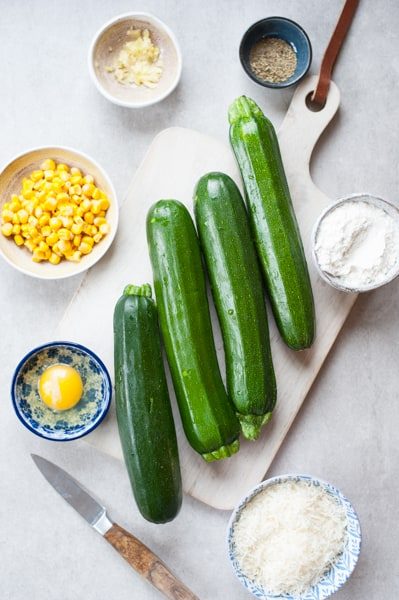 ingredients needed to prepare zucchini corn fritters