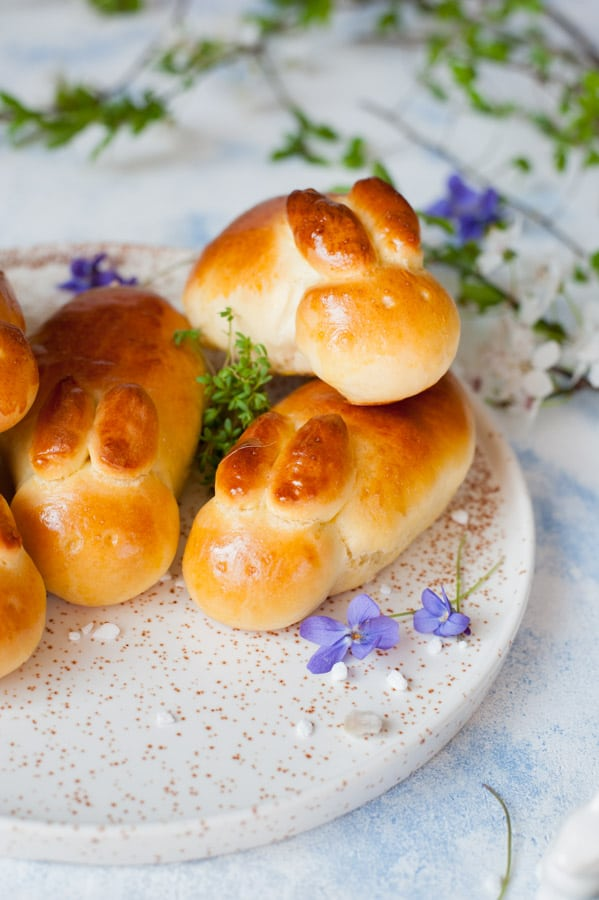 Close up on Easter bunny rolls
