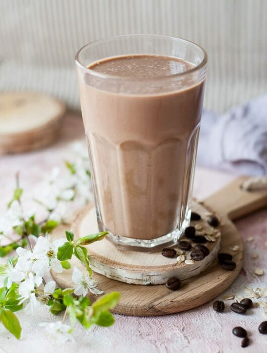 coffee banana smoothie in a glass