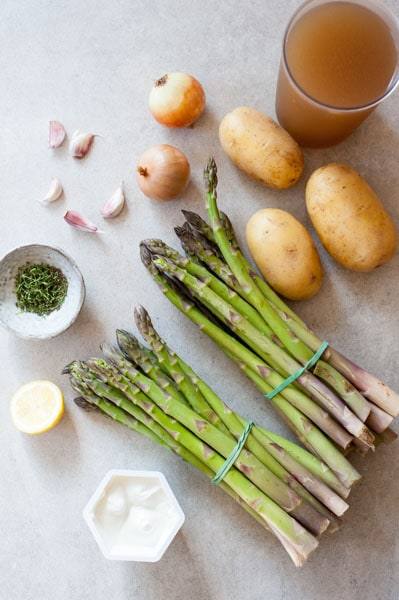 ingredients needed to prepare cream of asparagus soup with goat cheese