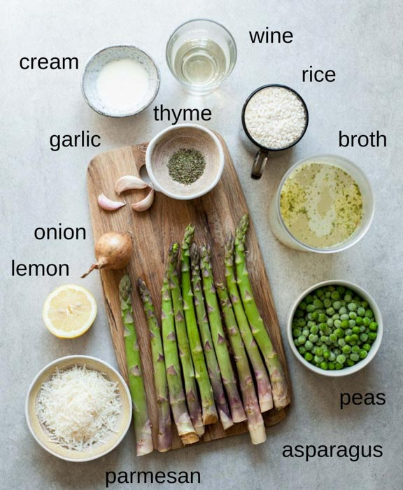 ingredients needed to prepare asparagus risotto
