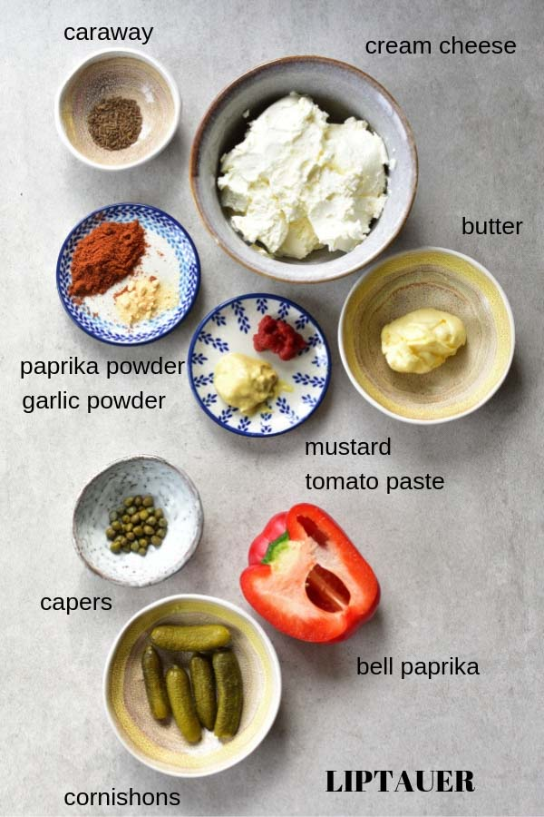 ingredients needed to prepare Liptauer cheese spread