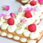 close up picture of number cake with lemon cream and raspberries