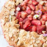 close up photo of strawberry rhubarb galette