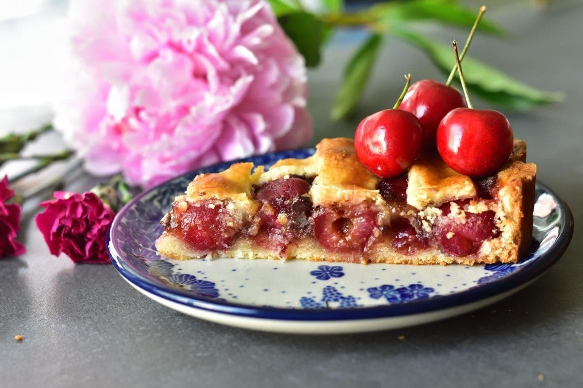 a piece of cherry tart with chocolate on a white-blue plate, topped with fresh sweet cherries