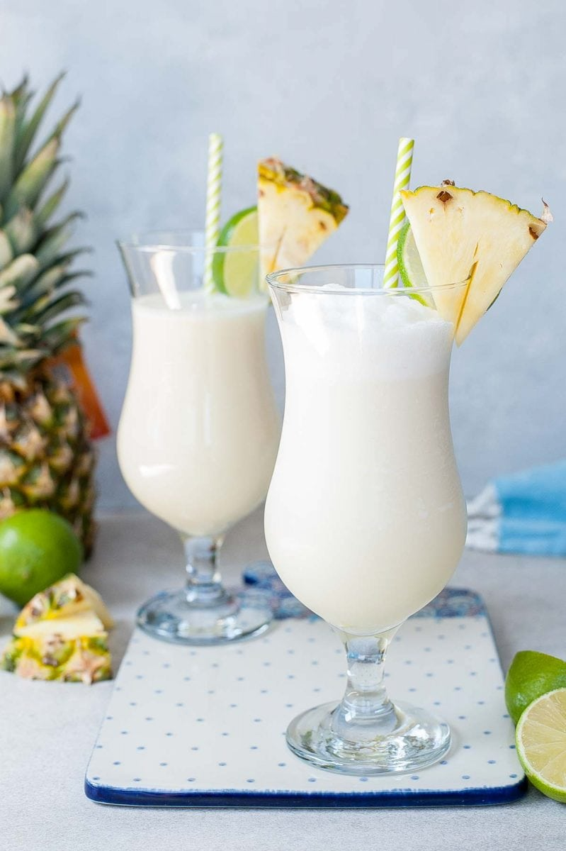 pina colada in two glasses