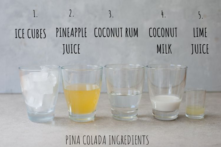 pina colada ingredients in glasses
