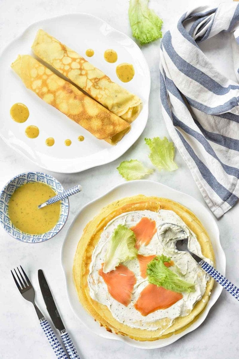 smoked salmon pancakes with herbed cream cheese and honey mustard sauce