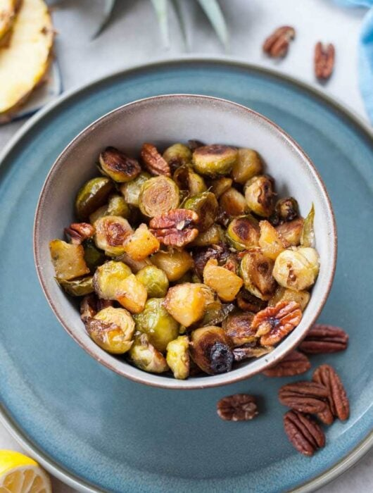 roasted brussel sprouts with pineapple