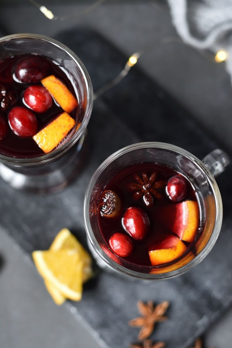 overhead shot on cranberry orange mulled wine