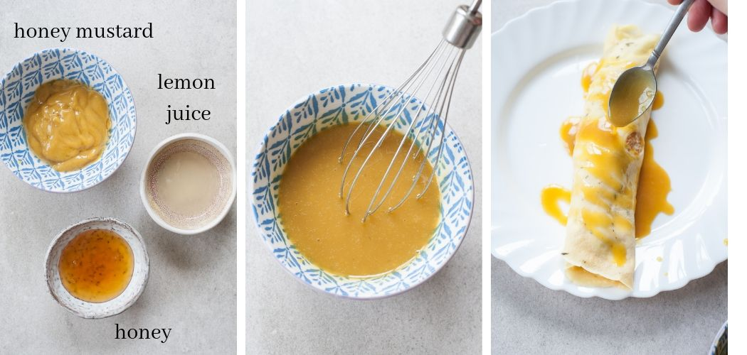 A collage of 3 photos showing how to make a honey mustard sauce.
