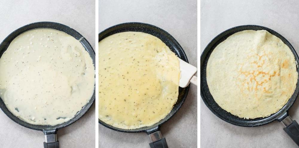 A collage of 3 photos showing how to cook savory crepes.