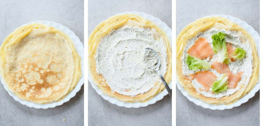 A collage of 3 photos showing how to assemble smoked salmon crepes.