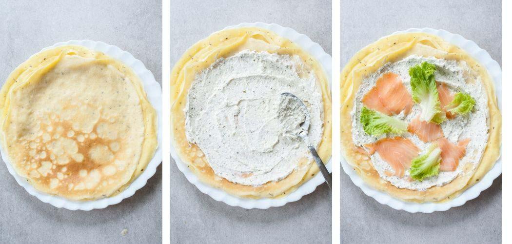 smoked salmon pancakes assembling steps