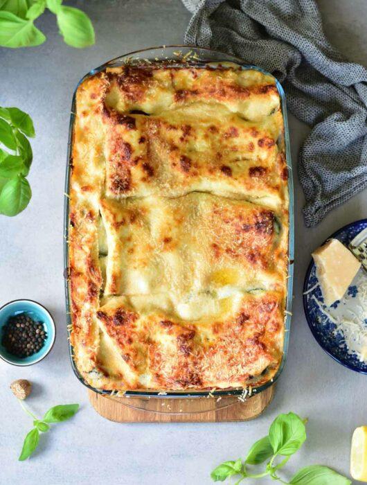 vegetarian lasagne with zuccini and spinach