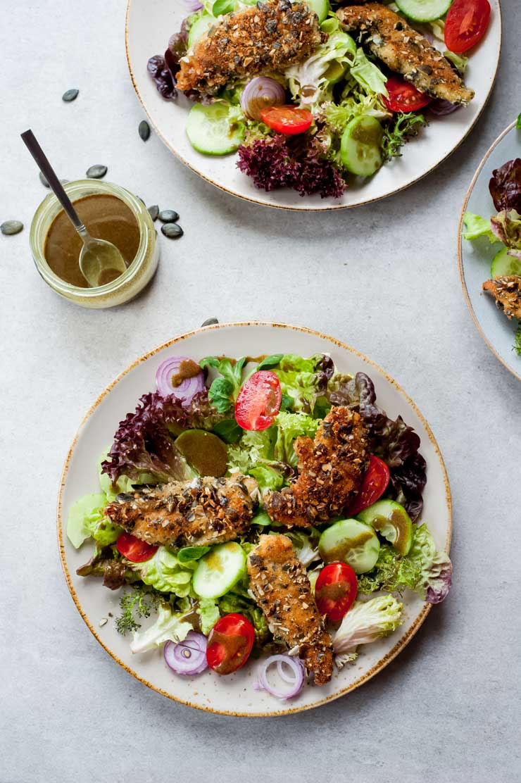 Pumpkin seed crusted chicken salad