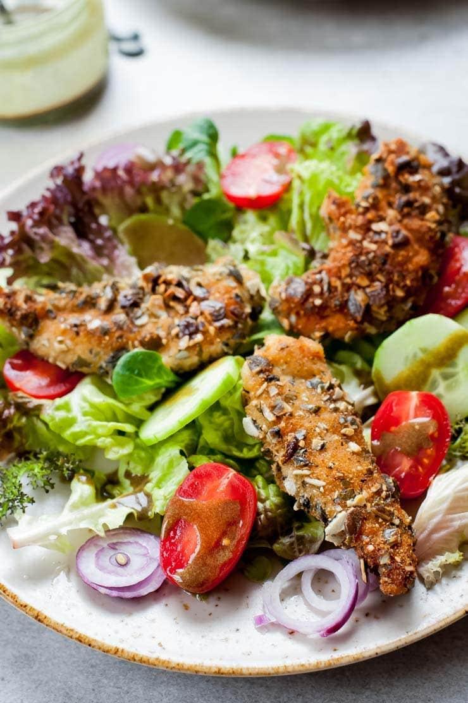 close up shot on Styrian breaded chicken salad (Backhendlsalat)