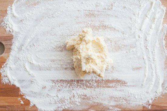 ricotta gnocchi dough on a wooden board