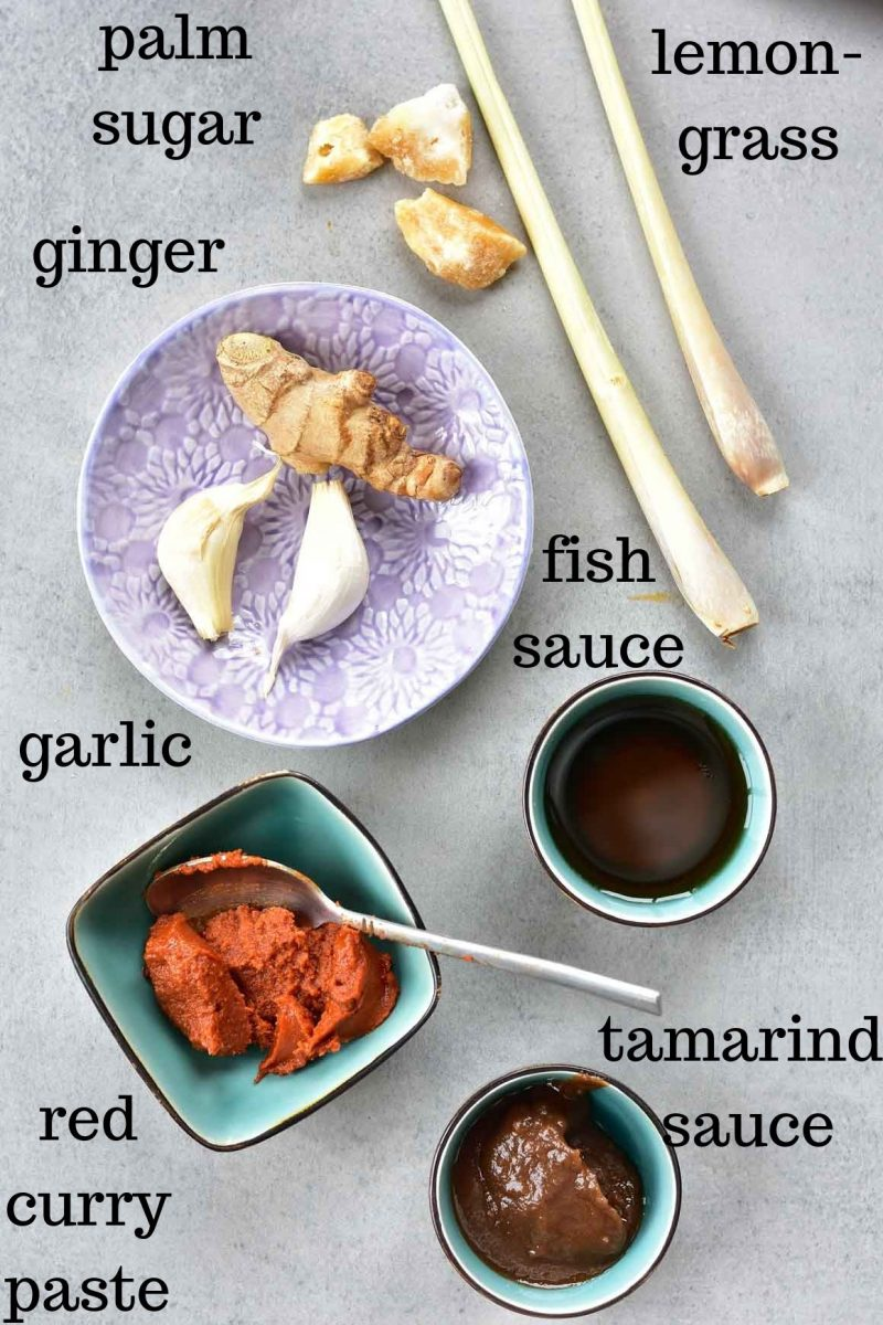 Thai red curry seasonings and ingredients