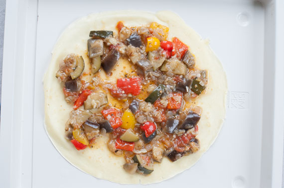pancake with ratatouille on top