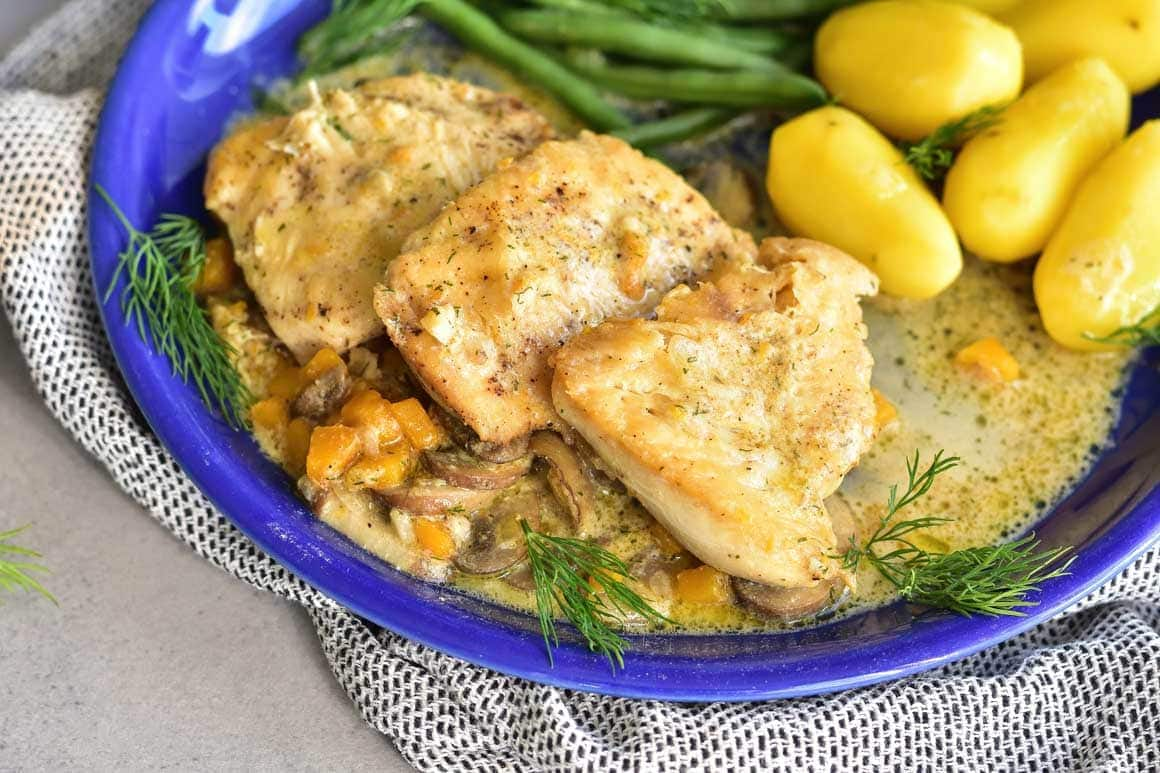 Chicken breast in creamy mushroom and butternut squash sauce