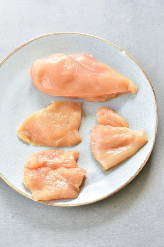 chicken breast cut into pieces on a plate