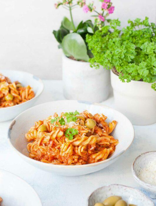tuna pasta in a white plate