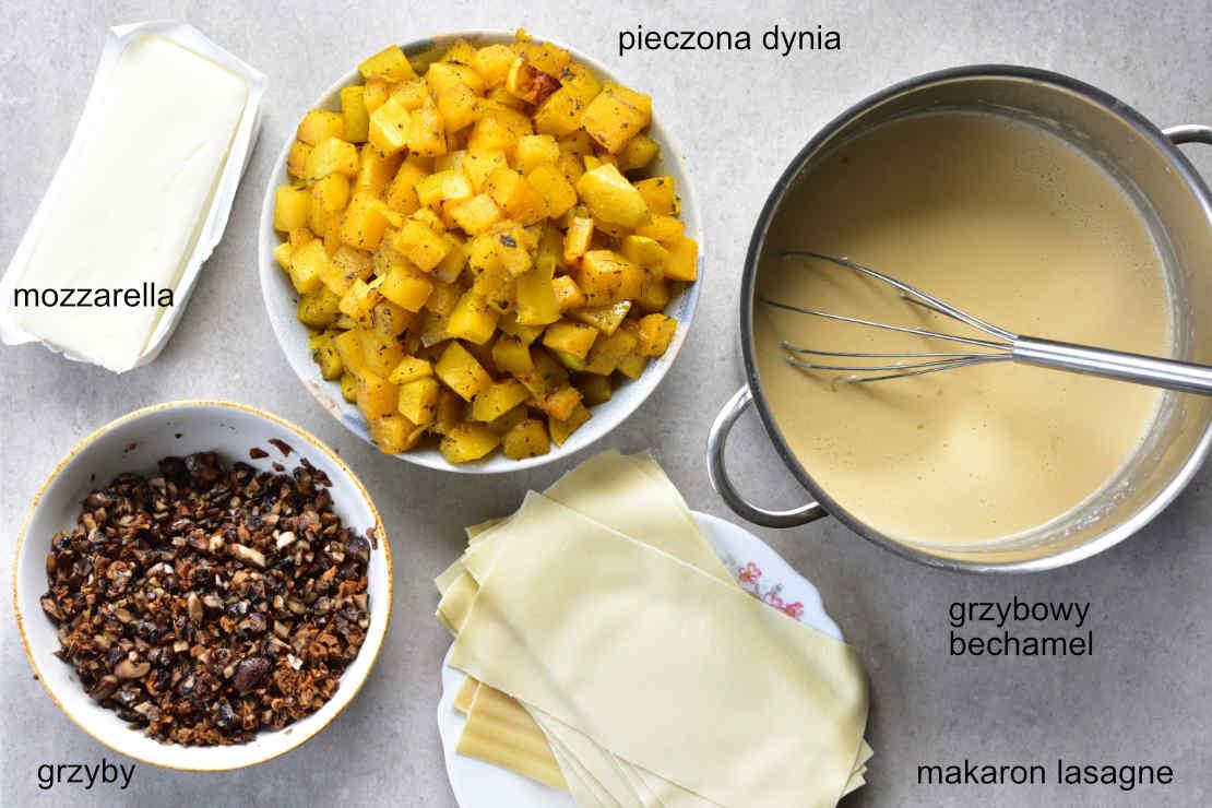 składniki na lasagne z dynią i grzybami