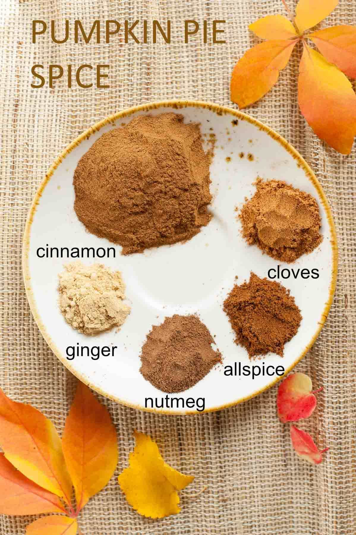 pumpkin pie spice ingredients on a small plate