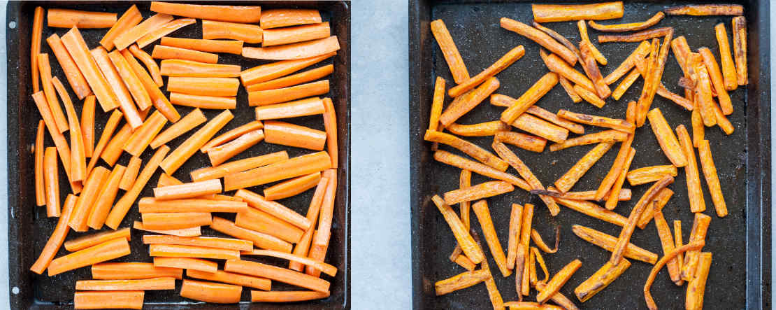 roasted carrot on a baking sheet