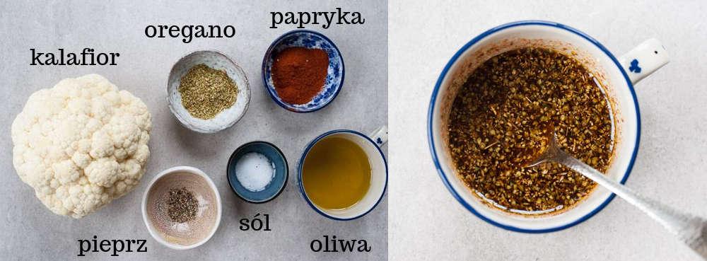 Składniki na steki z kalafiora. Przyprawy z oliwa w niebieskiej filiżance.