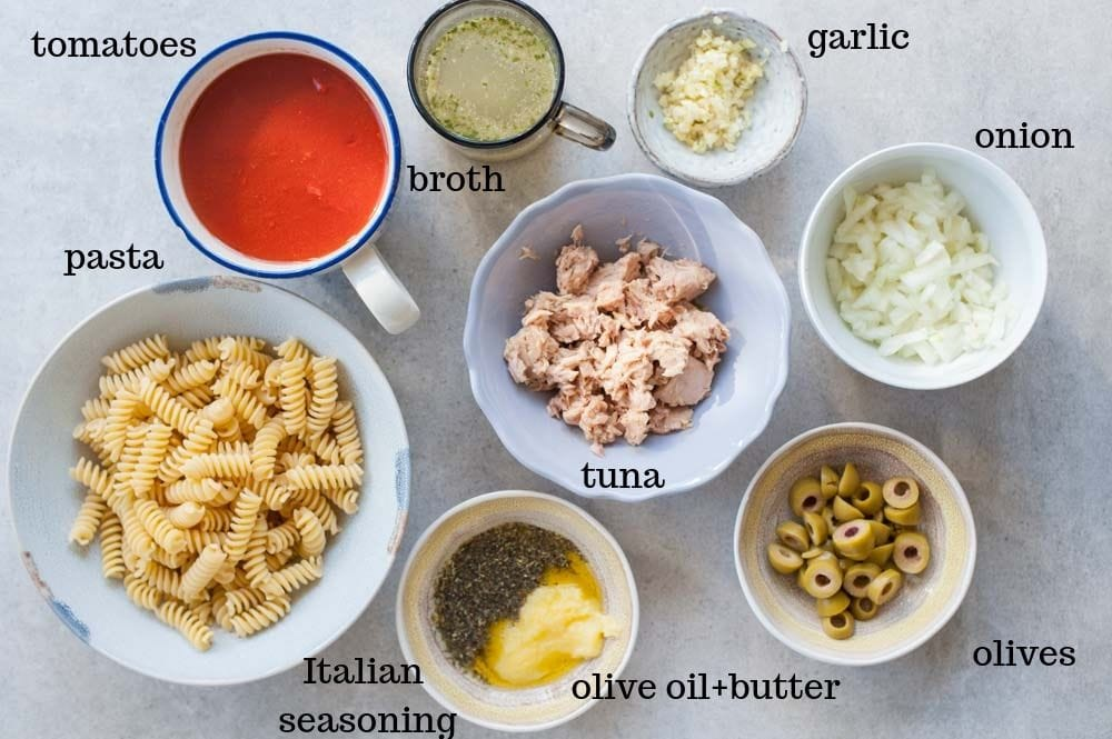 tuna pasta ingredients on a table