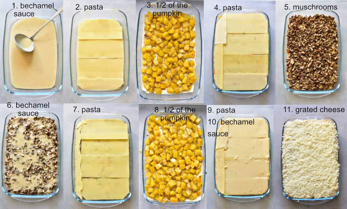 white lasagna with pumpkin assembling steps