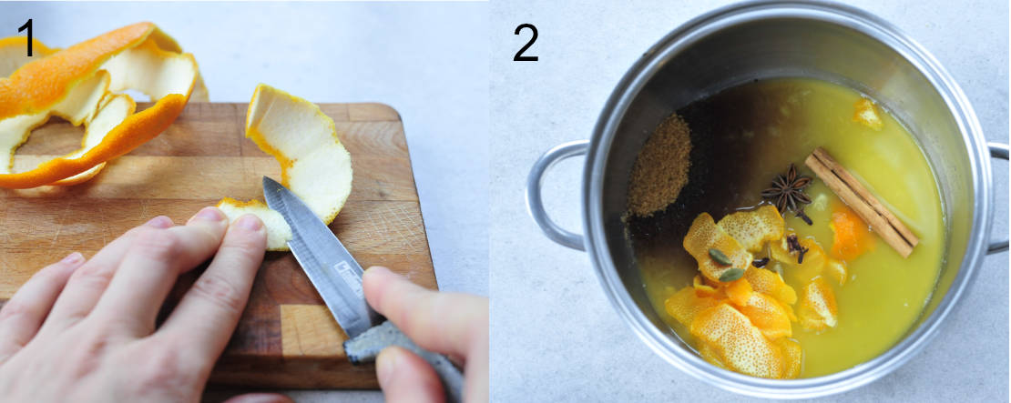 removing white pith from orange zest, orange syrup ingredients in a pot