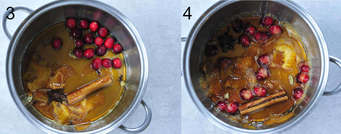 orange syrup with cranberries, cooked orange cranberry syrup