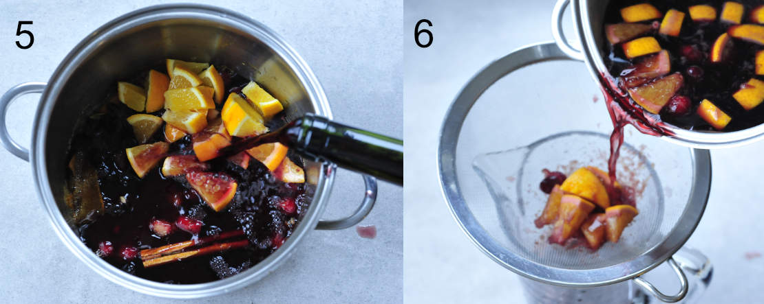 red wine is being added to orange syrup with cranberries, mulled wine is being strained to a pitcher