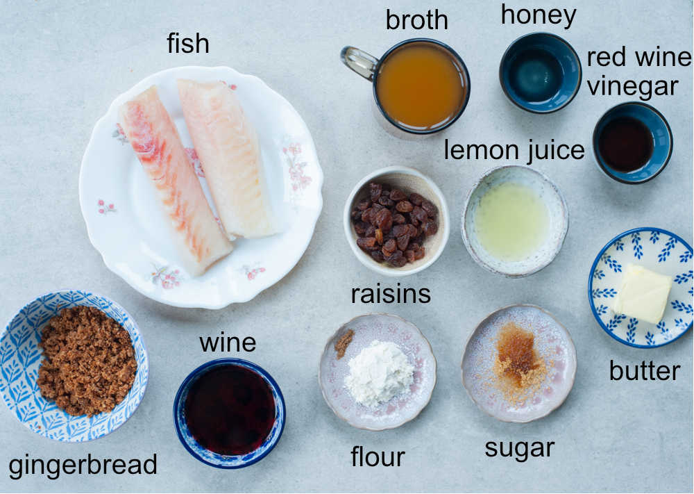 ingredients for fish with gingerbread sauce
