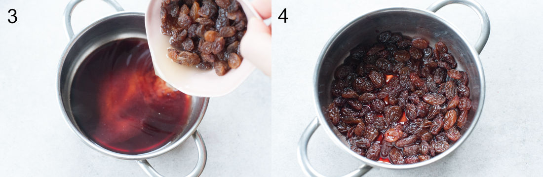 raisins in a small pot with red wine and caramel
