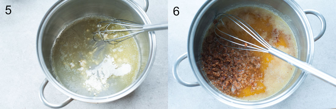 roux in a pot, gingerbread crumbs added to a pot
