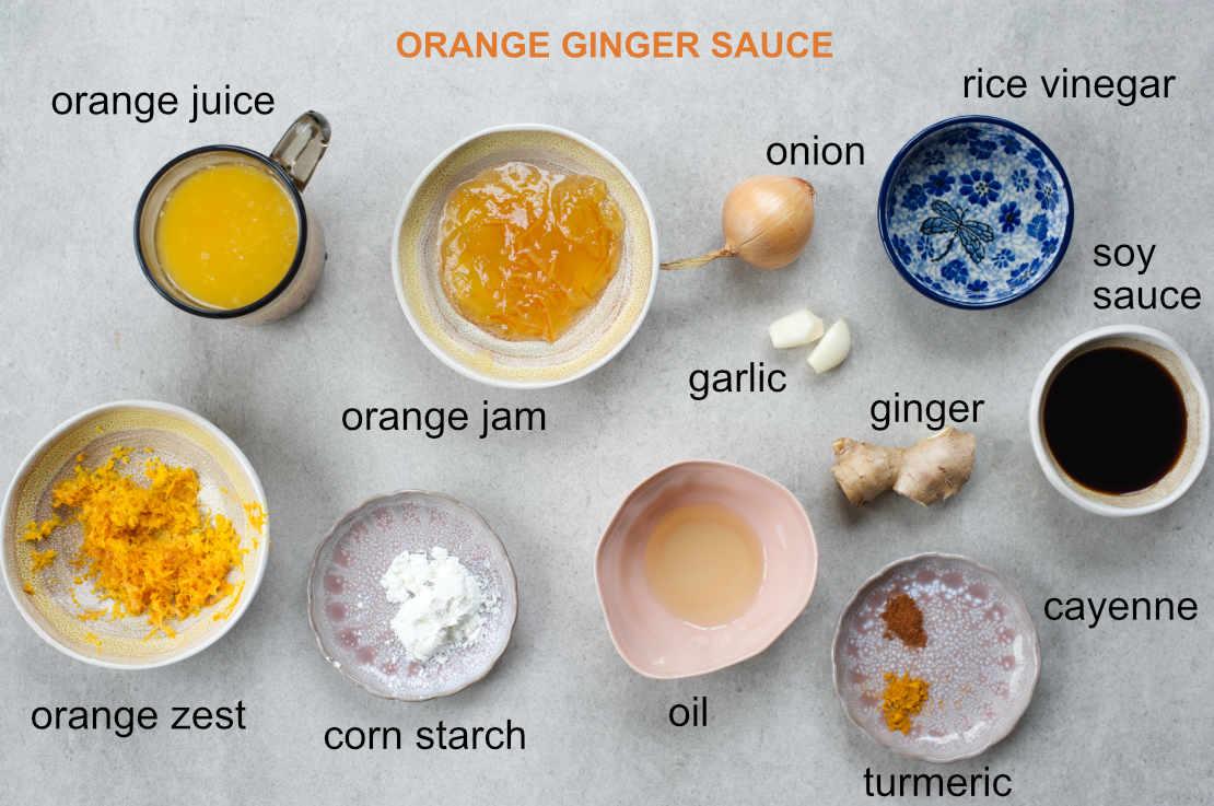 Labeled orange ginger sauce ingredients.