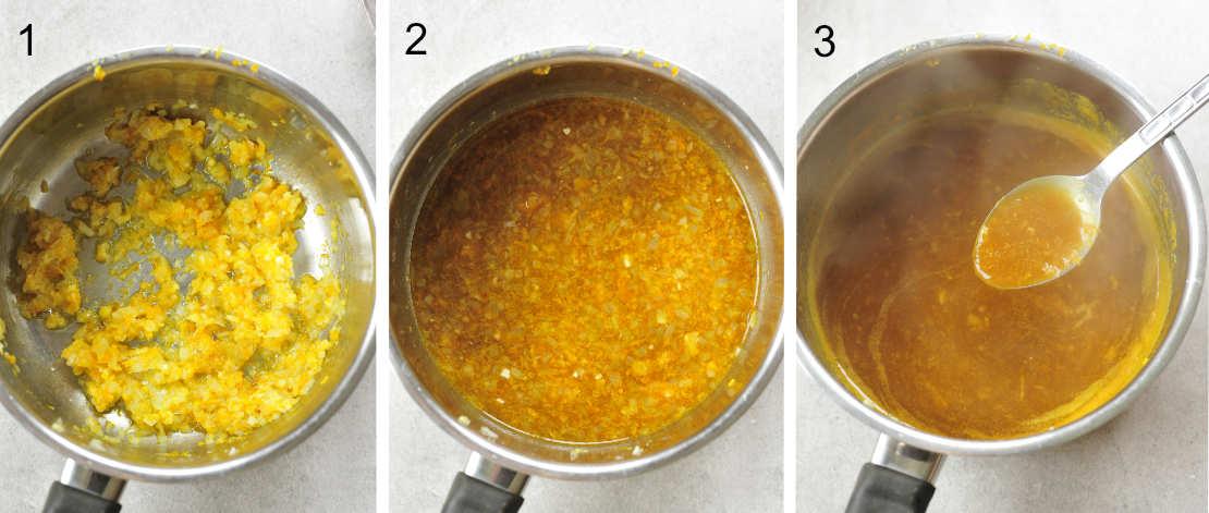 Orange ginger sauce preparation steps.