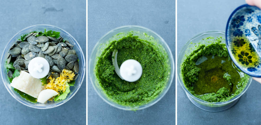 A collage of three photos showing preparation steps of parsley pesto.