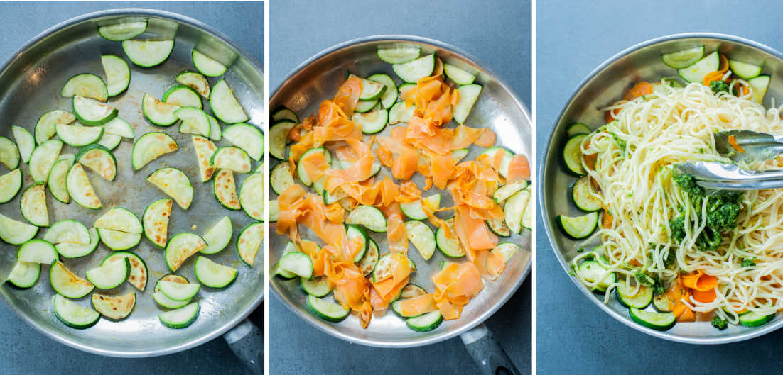 A collage of 3 photos showing preparation steps of parsley pesto pasta.