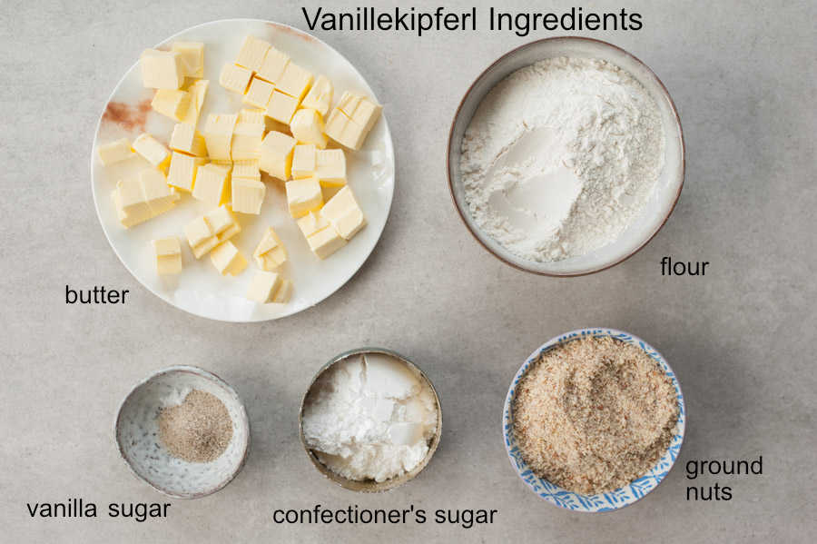 Labeled ingredients needed to prepare Austrian Vanillekipferl.