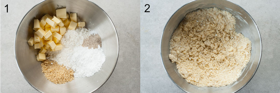 Cookie ingredients in a metal bowl. Pastry crumble in a bowl.