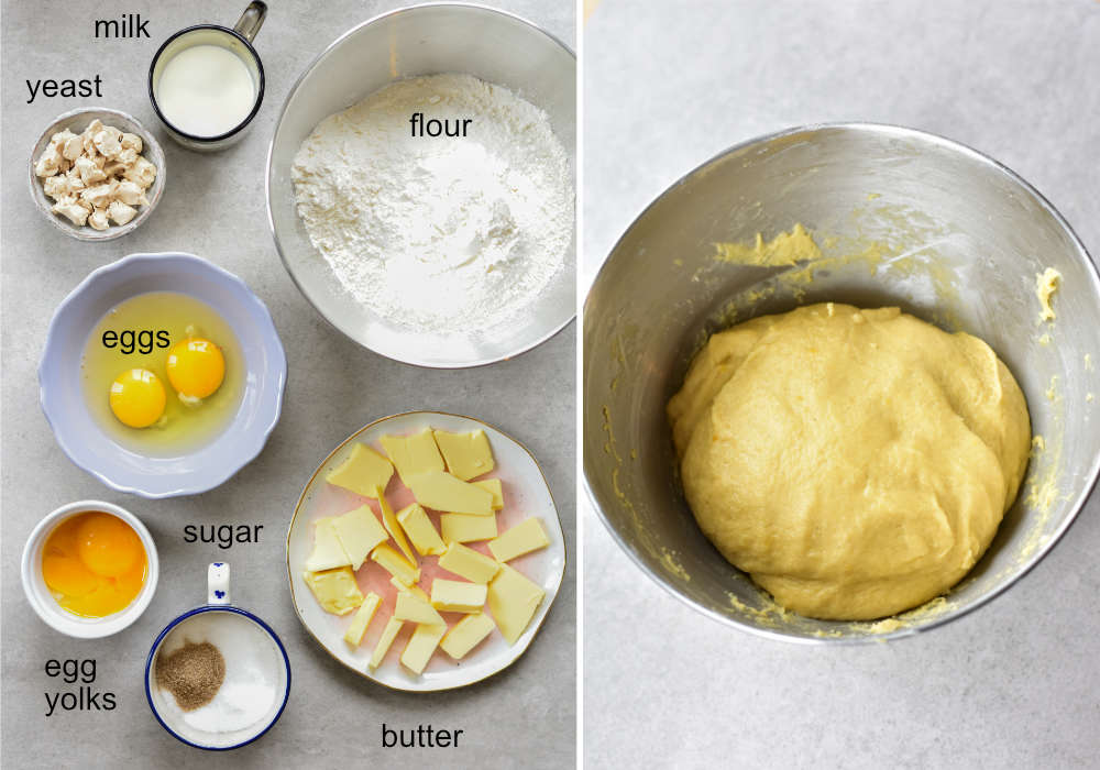 ingredients for yeast dough, yeast dough in a metal bowl