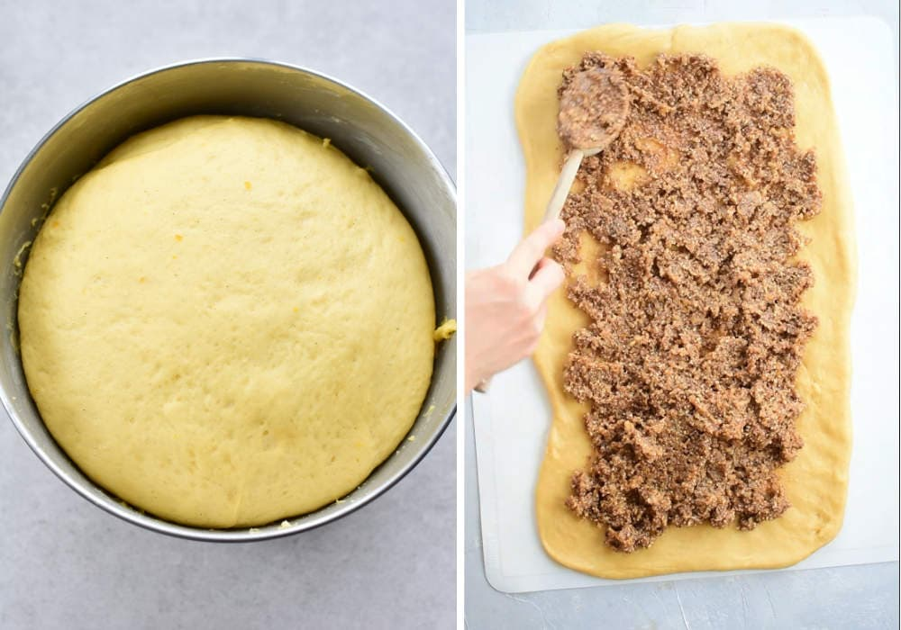 proofed yeast dough in a metal bowl, nut and chocolate filling spread on a dough