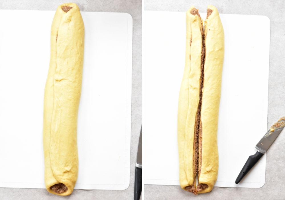 yeast dough roll with nut filling cut in half lengthwise